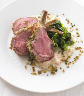 Picture of Herb-crusted rack of lamb with white bean purée