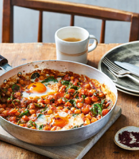 Spicy Baked Eggs with Tomatoes and Chickpeas picture